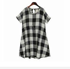 2015 Summer Women's Dresses Black/white Check Short Sleeve Loose Waist Sashes Casual Knee Length Pregnant Women Plaid Dress