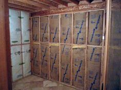 Home sauna room is insulated and ready to be wired for lights, sauna heater and controls