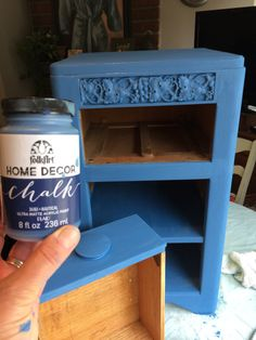 loving this nautical blue folk art chalk paint from joanns mixed it with some white - Home Decor Chalk Paint
