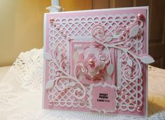 Martha Stewart - Deep Edge Punch Garden Trellis - used as a frame on this card with mitred corners
