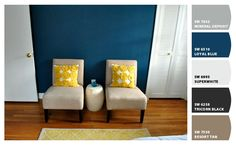 wondering if my family room could handle just a little bit of dark blue (peacock?) as an accent to the gray/brown/cream/yellow color scheme. Young House Love, Room Colors, House Colors, Paint Colors, Yellow Pillows, Blue Rooms, Dream Decor, Bedroom Decor, Master Bedroom