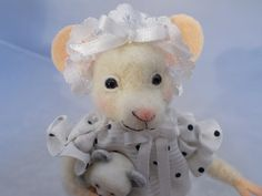 White mouse in her Night Gown Needle Felted Soft by grannancan, $45.00
