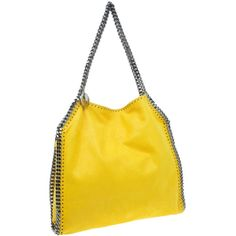 Stella McCartney Yellow Faux Leather Small Falabella Tote ❤ liked on Polyvore featuring bags, handbags, tote bags, vegan purses, tote purses, faux leather tote bag, handbag tote and yellow purse