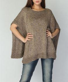 Hand knitted Poncho/ capelet eco cotton poncho in por MaxMelody