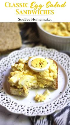 Classic Egg Salad Sandwiches are a simple combination of eggs, mayo, mustard, sweet relish, and a few spices. Eleven minutes to boil the eggs, and then just a few more to make the egg salad. Yes please! | suebeehomemaker.com | #classiceggsalad #eggsalad #eggsaladsandwich #eggs #sandwich