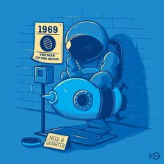 Budget cuts #sad #space #astronauts #universe #blue #fun #clever #vectors #illustration #gebe #elia #colombo