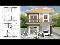 House design plan with 3 bedrooms. Style Modern House description: Number of floors 2 storey house bedroom 3 rooms toilet 2 rooms maid's room Model House Plan, My House Plans, House Layout Plans, Bedroom House Plans, House Layouts, Small House Plans, 2 Storey House Design, Bungalow House Design, Small House Design