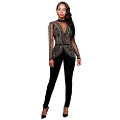 ea6e70573895 Jumpsuit Strapless Bodysuit Black Yellow Skinny Long Pants Night Club -  CELEBRITYSTYLEFASHION.COM.AU - 4. See more. Diamonds Backless Sexy Mesh  Deep V Long ...