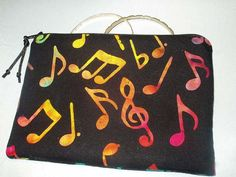 Padded Jewelry Cosmetic Zipper Pouch with Musical Notes by BagsOfaFeather, $21.00
