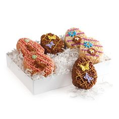 Crisp rice is blended with marshmallows; flavored with strawberries, cocoa, or vanilla; pressed into egg shapes; and decorated by hand with royal icing. Packed in our signature DEAN & DELUCA gift box.