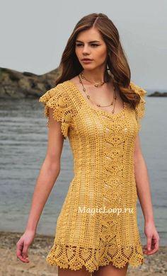 Chorrilho de ideias: Vestido curto amarelo em crochet