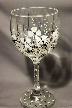 http://www.idecz.com/category/Wine-Glasses/ Wine Glass Floral Wine Glass Black and White by concettasdesigns
