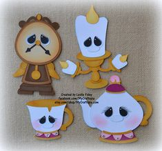 Beauty and the Beast Accessories Disney Premade Scrapbooking Embellishment Paper Piecing Die CutClip Art. Foam Crafts, Diy And Crafts, Crafts For Kids, Paper Crafts, Paper Piecing, Birthday Background, Ideias Diy, Animal Books, Disney Scrapbook