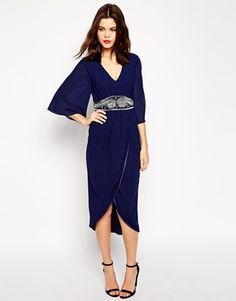 TFNC Embellished Midi Dress With Kimono Sleeves & Wrap Skirt