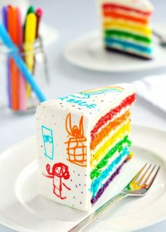 bright rainbow layer cake with fondant icing and kids' drawings in edible food colouring markers!