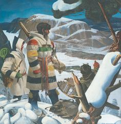 Chief Factor Barnston and R. Ballantyne at Tadoussac, 1846 by Charles Fraser Comfort courtesy of the Hudsons Bay Company. Shows clothing that would have been introduced to James Bay Cree around same time. Canadian History, Native American History, Native American Indians, Canadian Art, Mountain Man, Quebec, Blanket Jacket, Wool Blanket, Hudson Bay Blanket