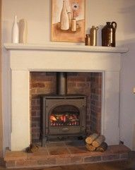 35 Ideas For Wood Burning Stove Fireplace Fire Surround Mantles Wood Burner Fireplace, Home Fireplace, Fireplace Surrounds, Fireplace Design, Fireplace Ideas, Wooden Fireplace Surround, Wooden Mantle, Fireplace Brick, Brick Fireplaces