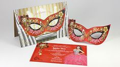 Red Gold And Silver Mask Invitationsquinceanera Invitations Sweet15 Masqueradquinceanera Party Fiesta Invitaciones 3deffects Senorita
