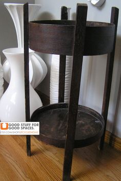 Vintage Weathered Wood Barrel Side Table by UpcycledHome, $95.00