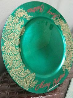 Hand painted henna designed charger plate with Merry by KaysHenna