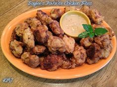 Please **SHARE** this so you can *SAVE* the recipe to your page!  Baylee's Favorite Chicken Bites with a Kick!  WARNING: mouth watering delicious...  Ingredients: 2 large boneless skinless chicken breast 5 boneless skinless chicken thighs  Marinade: 1 quart buttermilk 1/2 cup Franks Original Red Hot Sauce   Breading: 3 cups all-purpose flour 1 1/2 Tbsp. garlic powder 1 1/2 Tbsp. Onion Powder 2 Tbsp. Texas Style Steak Seasoning 1 teaspoon black pepper  About 2 cups canola oil  Gravy Dip: 1…