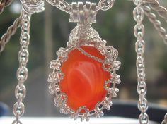 Spatial Carnelian Pendant - Carnelian Oval Cabochon Wire Wrapped in Sterling Silver Carnelian, Wire Wrapped Jewelry, Wire Wrapping, Natural Stones, Sterling Silver, Christmas Ornaments, Pendant, Trending Outfits, Holiday Decor