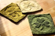 Free pattern for Shamrock coasters or dish cloths. For wiping up those Guinness spills. Knitting Squares, Dishcloth Knitting Patterns, Crochet Dishcloths, Knit Or Crochet, Loom Knitting, Free Knitting, Crochet Patterns, Yarn Projects, Knitting Projects