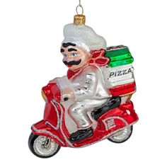 Italian pizza delivery man on a scooter hand made Christmas tree bauble How To Make Christmas Tree, Christmas Tree Baubles, Christmas Time Is Here, Pizza Delivery, Delivery Man, Italian Christmas, Holiday Decor, Pizza Home Delivery