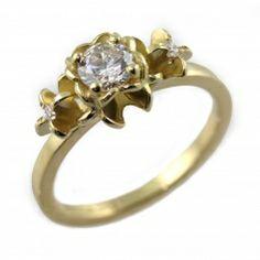 Forsythia Three Stone Diamond Ring by Jana Reinhardt