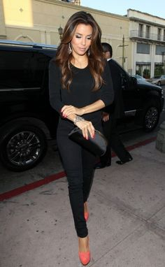 all black with a pop of color on the shoes and nails! I could rock this!