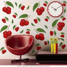 This large-size set of Cherry Wall Decals adds retro color and style to your kitchen or diner. Printed on durable polyester fabric with a matte finish, this assortment of cherries is perfect for your vintage decor. Retro Home Decor, Vintage Decor, Diy Home Decor, Room Decor, Retro Vintage, Retro Appliances, Cherry Fruit, Cherry Baby, Cherry Tree
