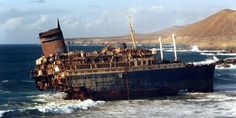 SS America, later known as the SS American Star. Wrecked on a beach at Fuerteventura in the Canary Islands in 1994. Broken up, disintegrated, and submerged by 2008