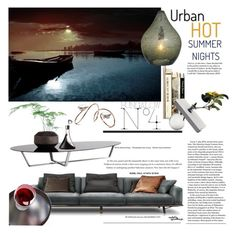 """Hot Summer Nights ~ Urban Edition"" by eyesondesign ❤ liked on Polyvore featuring interior, interiors, interior design, home, home decor, interior decorating, Natuzzi, Dot & Bo, TastemastersDesignGroup and eyesondesigninteriors"