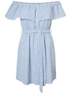 Stripped off-shoulder dress. #veromoda  Summer outfit | Fashion ideas | Inspiration