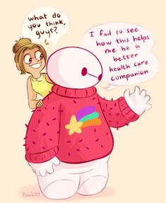 In which Honey Lemon dresses up Baymax in an oversize sweater by pombity