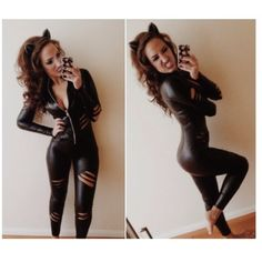Halloween Costume Other - Sexy black catsuit catwoman costume