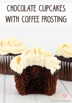 Chocolate Cupcakes with Coffee Frosting Recipe - Sugar, Spice and Family Life - Dessert Recipes Coffee Frosting Recipe, Coffee Icing, Coffee Cupcakes, Baking Cupcakes, Frosting Recipes, Chocolate Cupcakes, Chocolate Desserts, Cupcake Recipes, Cupcake Cakes