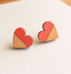 Two-Tone Heart stud earrings // Made from by WinchesterCraftCo