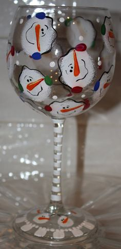 Christmas snowman wine glass