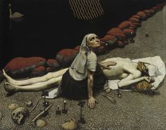 """artwork: Akseli Gallen-Kallela - """"Lemminkäinen's Mother"""", 1897 - Tempera on Canvas - x cm. - Collection of the Helsinki, Ateneum Art Museum. On view at the Musée d'Orsay in """"Akseli Gallen-Kallela A Passion for Finland"""" until May Tempera, Hans Thoma, Carl Spitzweg, Art Magique, Culture Day, Hans Holbein, National Gallery, Memento Mori, Art History"""