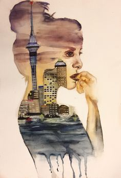 watercolor painting, woman, Auckland, New Zealand - by Josephine Doege