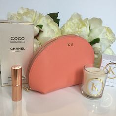 'Coco made me do it' Peach Leather Gold Monogram Make Up Bag & Floral Scented Gold Initial Candle
