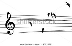 Love for music concept illustration. High contrast musical pentagram and birds background. Vector file available. - stock vector