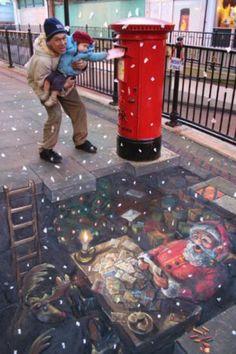 Beautiful Street Art sidewalk chalk art SAS Chalk Sidewalk Art Jaw-Dropping Sidewalk Art Julian Beever is a chalk artist. 3d Street Art, Amazing Street Art, Street Art Graffiti, Amazing Art, Street Mural, Amazing Photos, Photo Illusion, Illusion Art, Chalk Drawings
