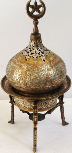 Islamic incense burner, copper, silver and inlad of Damascus | eBay