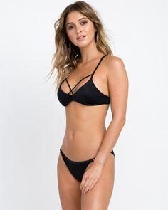 8e59d93a2f Rvca Solid Strappy Bralette Bikini Top - Black S