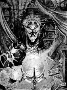 """Davaris, the last Black Robe of Castle Bloodstone. (Jennell Jaquays, from""""The Visitor"""" by Llyne Moore, Dragon #139, TSR, November 1988.)"""