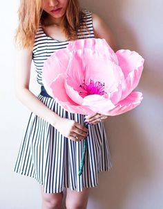 Flor de papel crepe gigante hecho a mano con o sin tallo, ramo novia, ramo de Dama de honor, decoración del partido, verano, primavera, amapola gigante