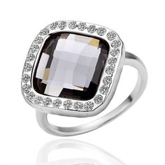 When black enters the picture, your possibilities are unlimited. The white gold-plated ring is sleek, fine, and modern, featuring a large bezel that is beautifully lined with tiny Zirconia that encirc