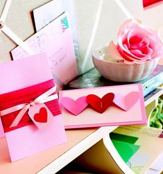 Easy homemade cards with hearts, cardstock, ribbon.